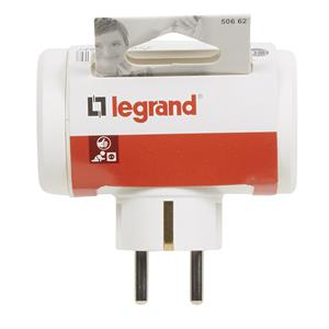 Adaptador Lateral 3 tomas- 10/16A - blanco 050662 LEGRAND